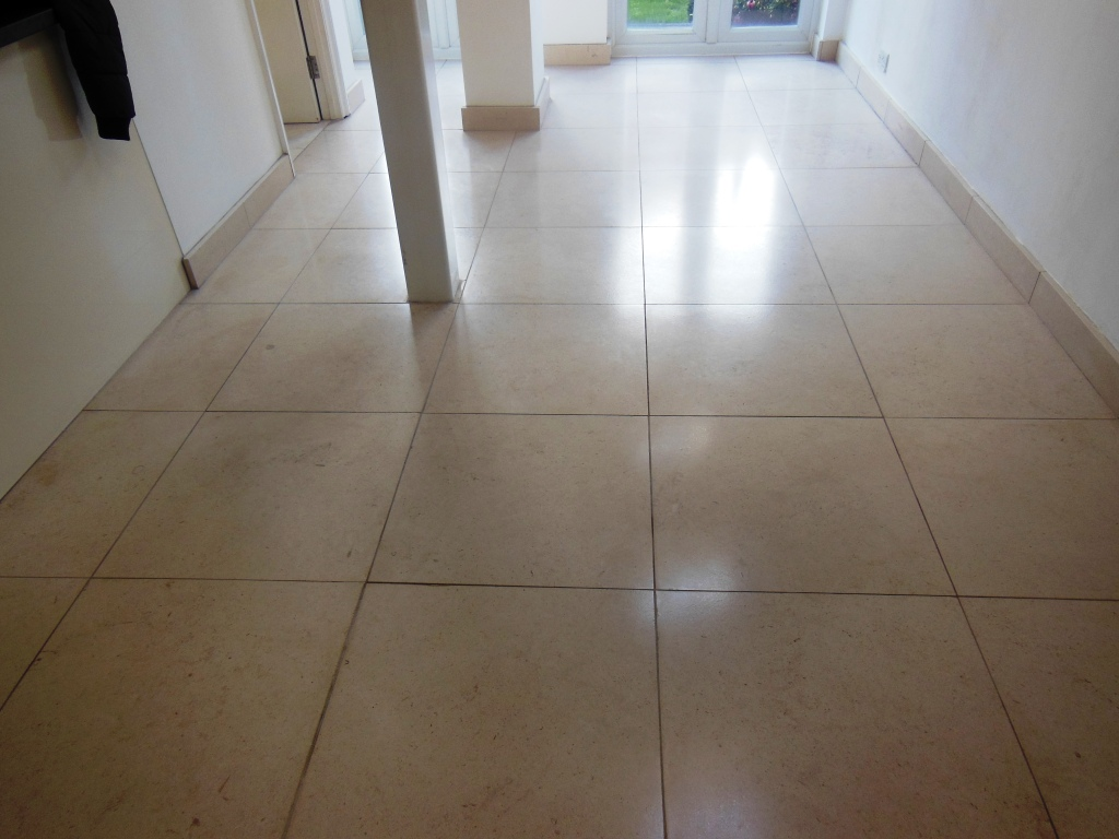 Limestone Tile After Strip and Seal