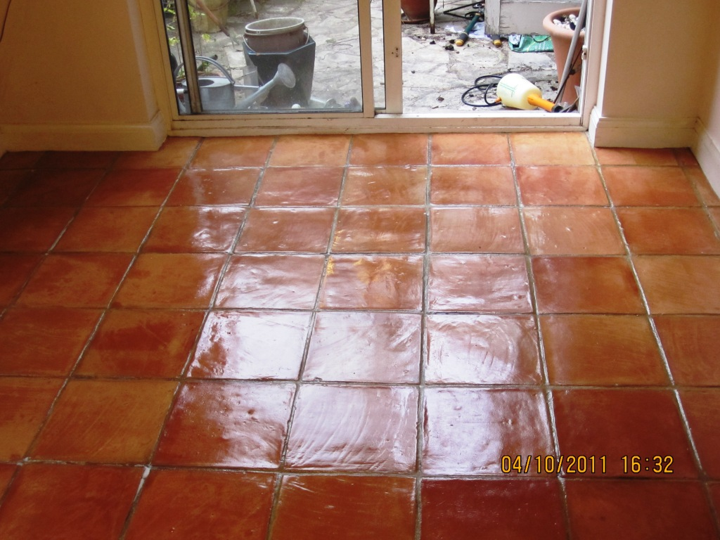 Terracotta Tile after cleaning and sealing