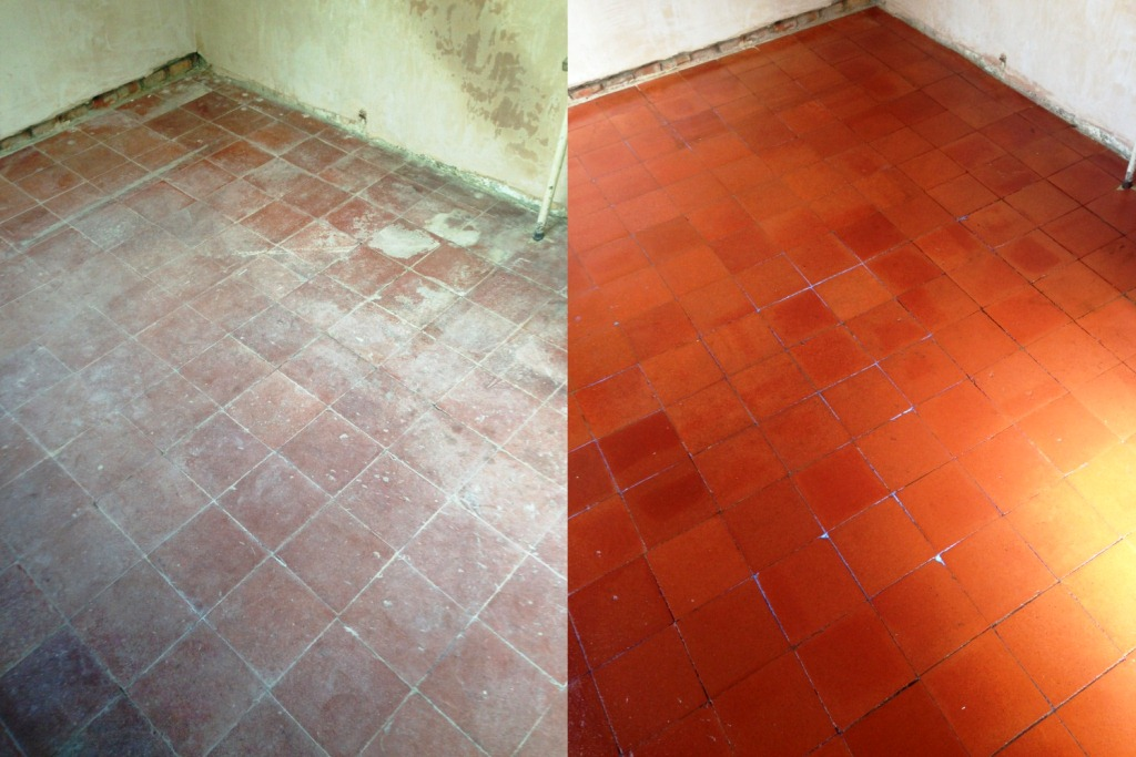 Quarry Tile Cleaning Before and After