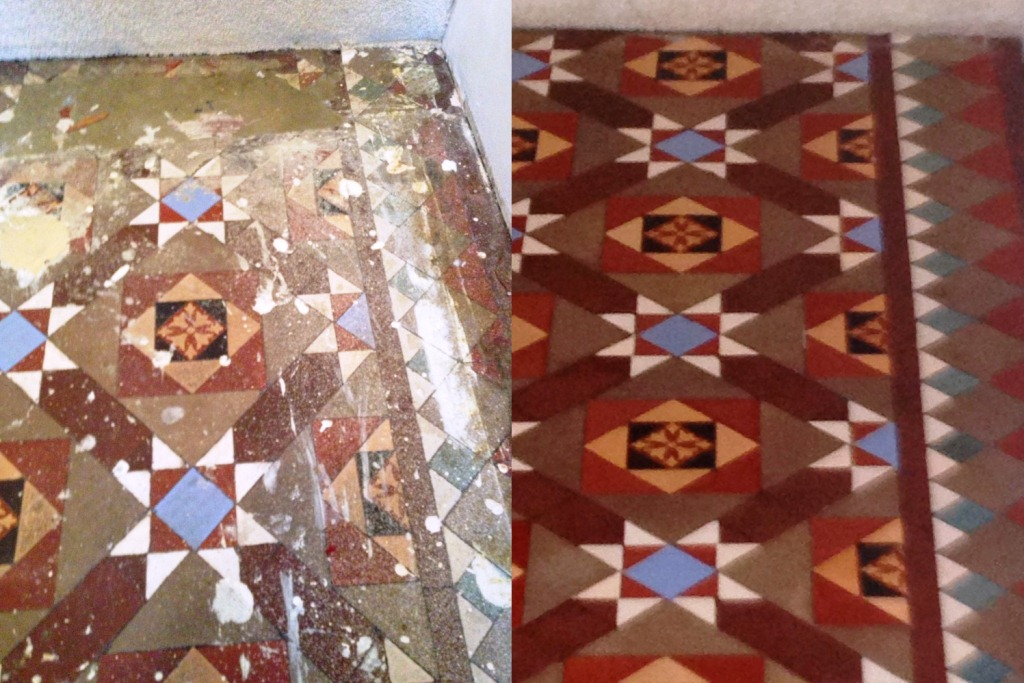 Victorian Tiled Floor Balham Before and After