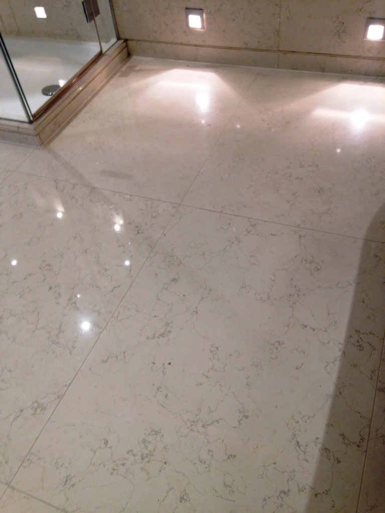Marble tiled floor Westminster Marks after cleaning