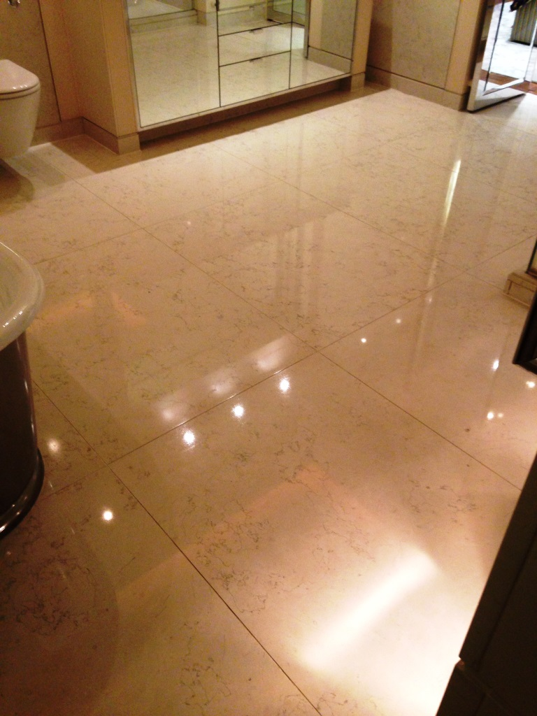 Marble tiled floor Westminster after sealing