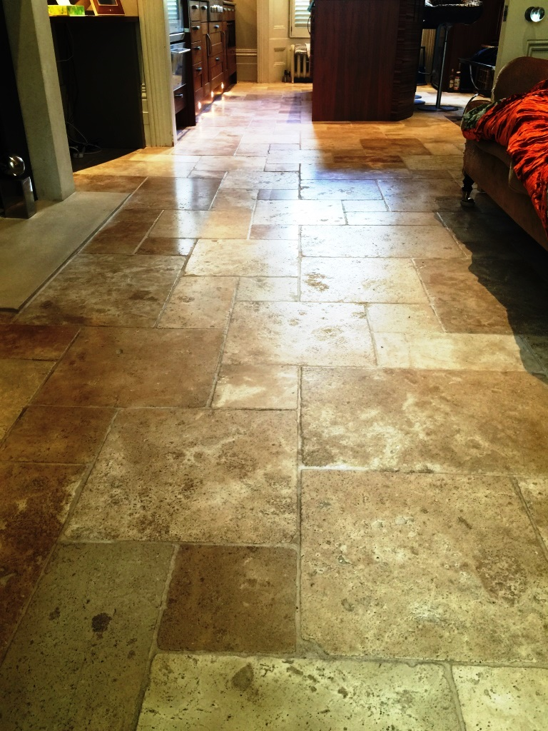 Honed Travertine Kensington After Sealing