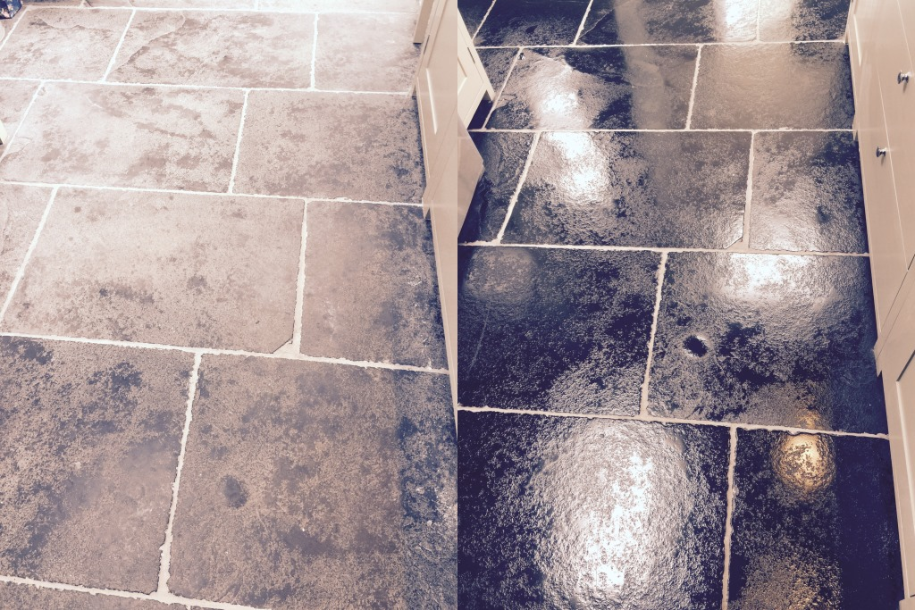 Black Limestone Before and After in Wimbledon
