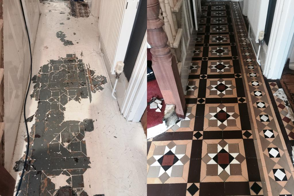 Victorian Floor Restoration Putney Before and After Paint Removal