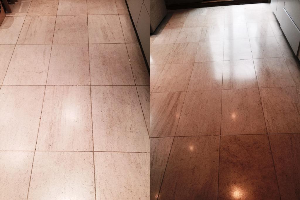 Limestone Floor After Burnishing Wandsworth