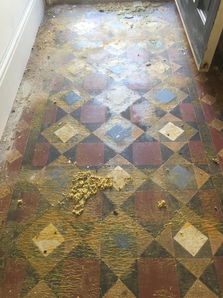 Victorian Tiled Hallway Before Restoration Fulham