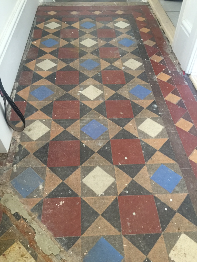 Victorian Tiled Hallway Before Restoration Fulham