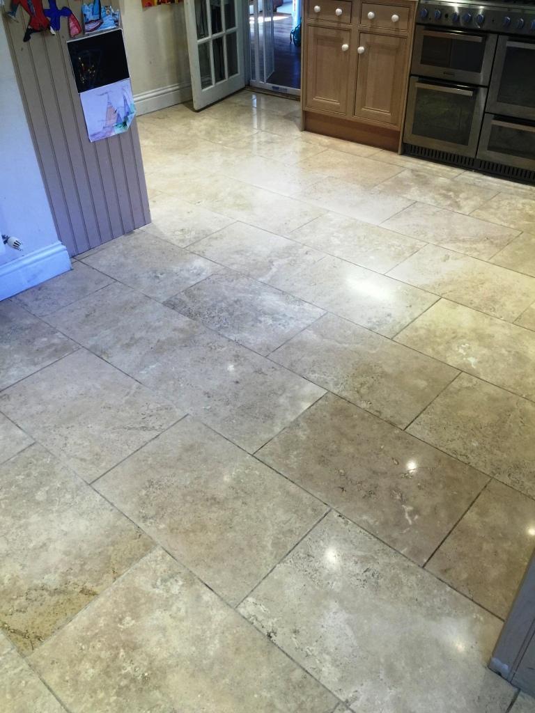Travertine Kitchen Floor After Sealing Sanderstead