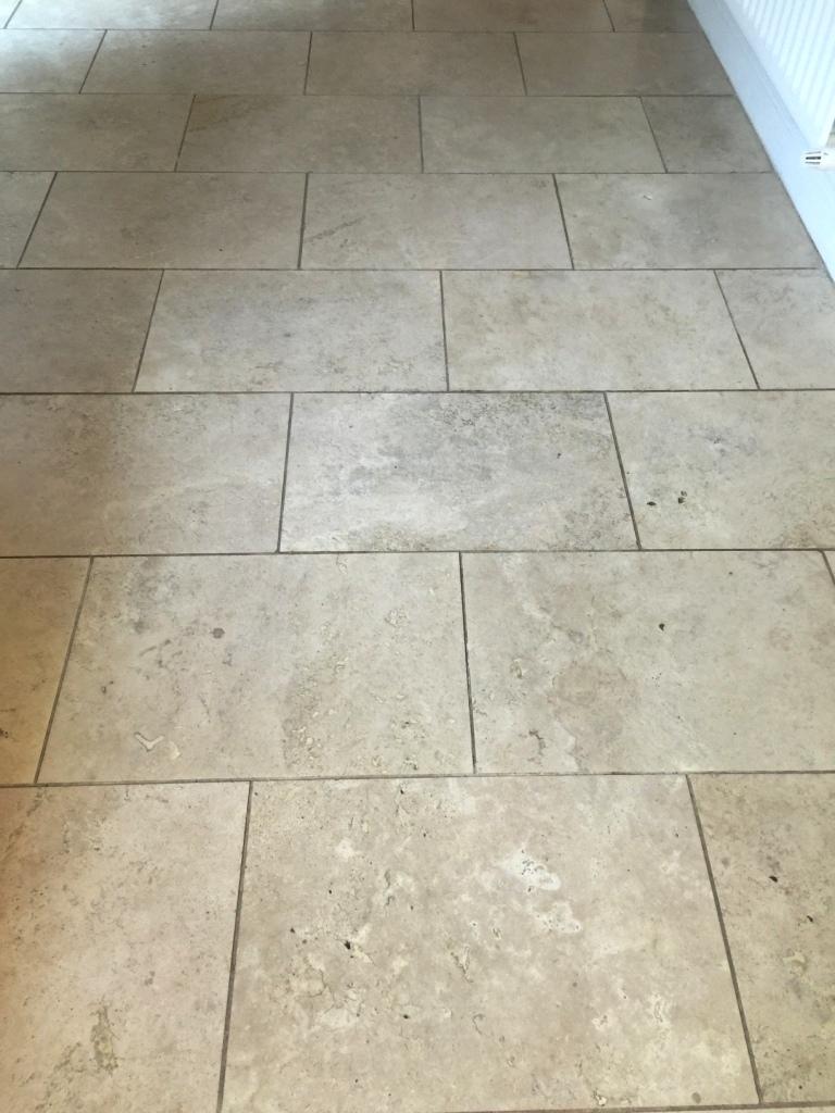 Travertine Kitchen Floor Before Cleaning Sanderstead