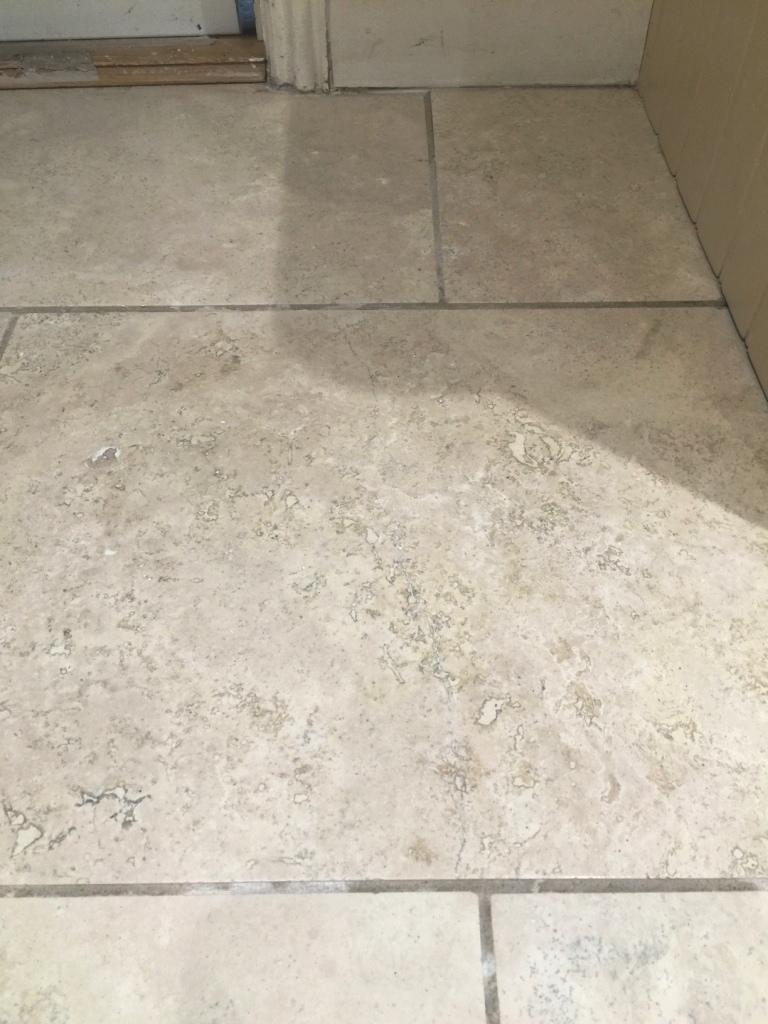 Travertine Kitchen Floor Cracked Tile After Repair Sanderstead