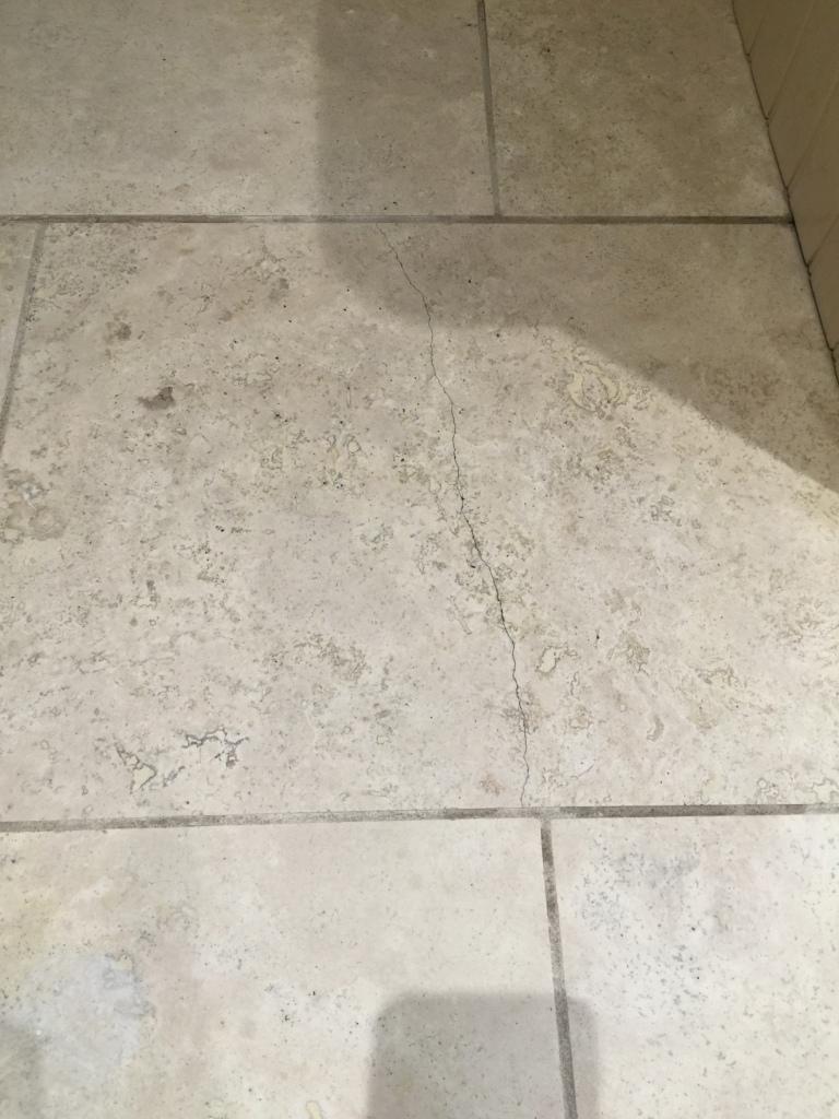 Travertine Kitchen Floor Cracked Tile Before Repair Sanderstead