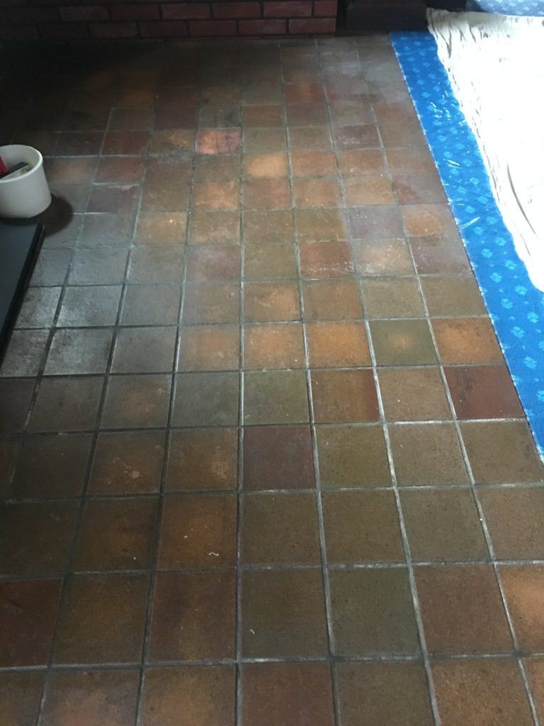 Quarry Tiled Floor Before Renovation in Outwood