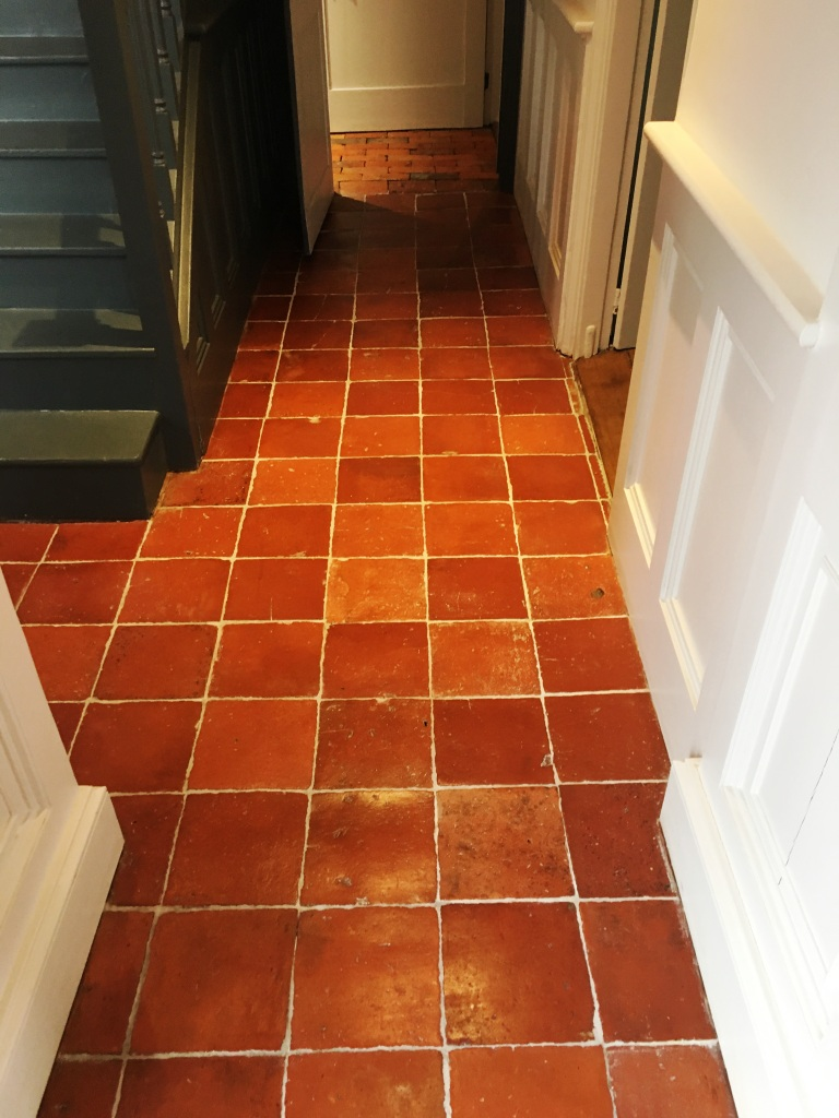 Clay Pamment Tiled Hallway After Sealing Lingfield Surrey