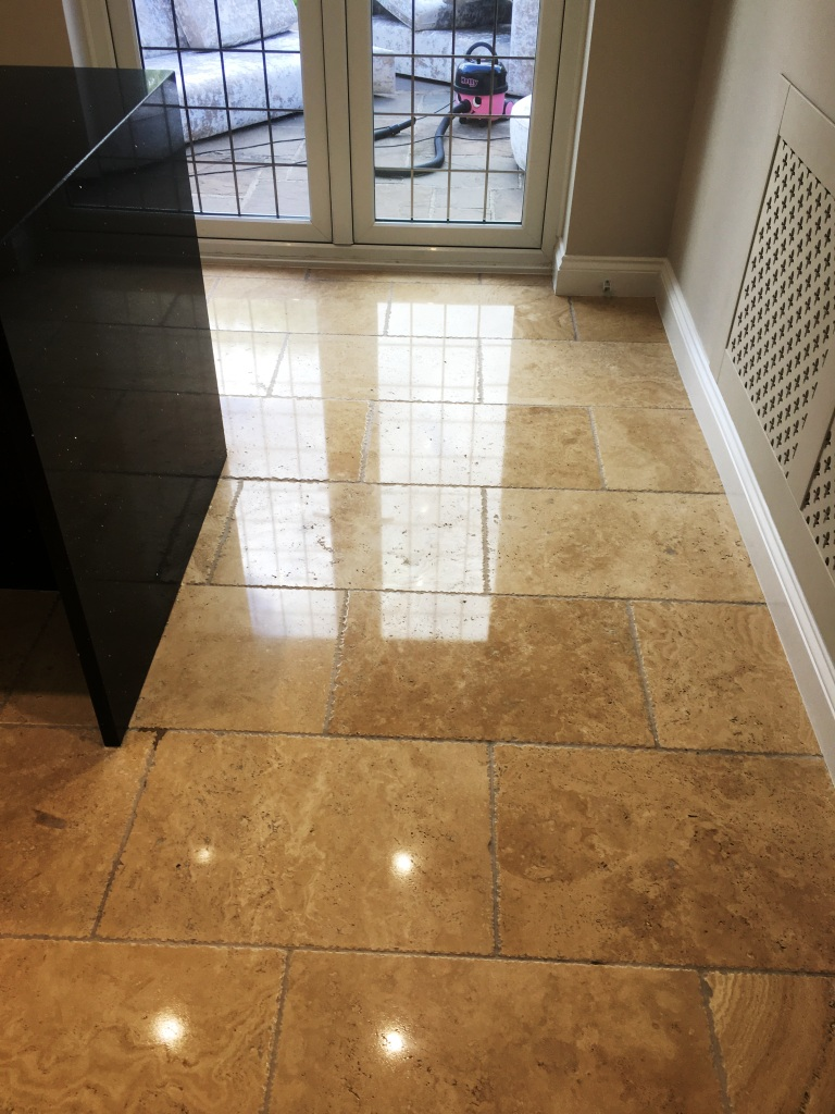 Tumbled Travertine Floor Horley After Polishing