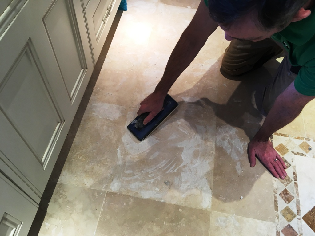 Pitted Travertine Floor After Filling Before Polishing Limpsfield Chart