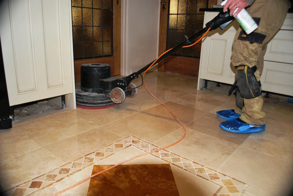 Pitted Travertine Floor During Shine Powder Polishing Limpsfield Chart