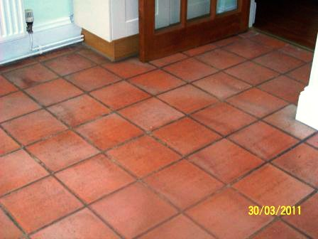 Terracotta floor before restoration