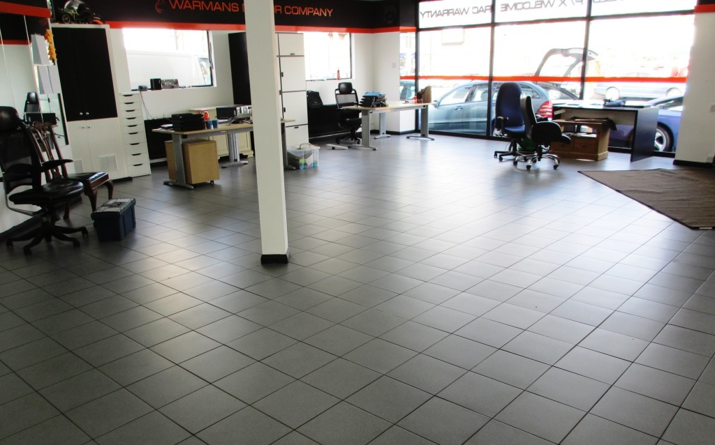 Porcelain Tile Cleaning In A Car Showroom Weybridge South London
