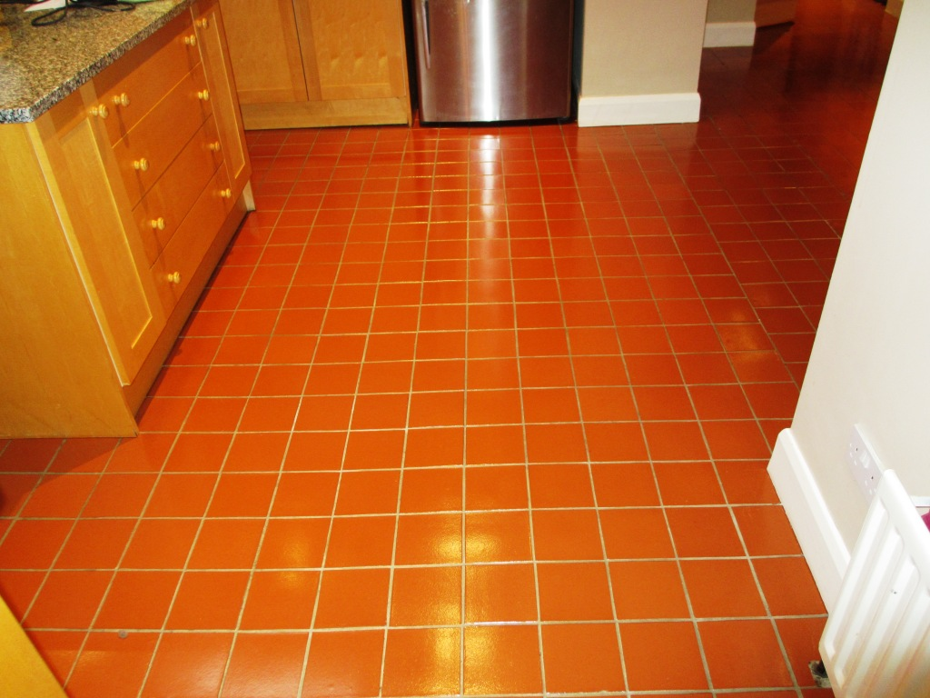 quarry tiled kitchen floor cleaned in