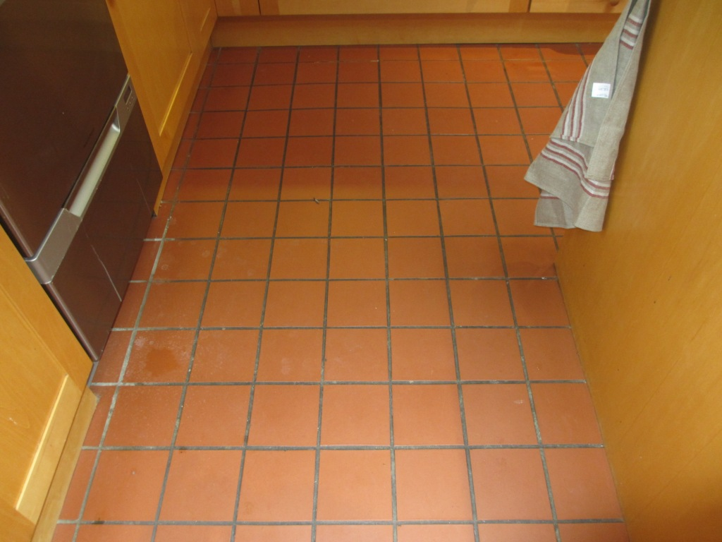Quarry tiled kitchen floor cleaned in leatherhead east surrey tile quarry tile cleaning before dailygadgetfo Gallery