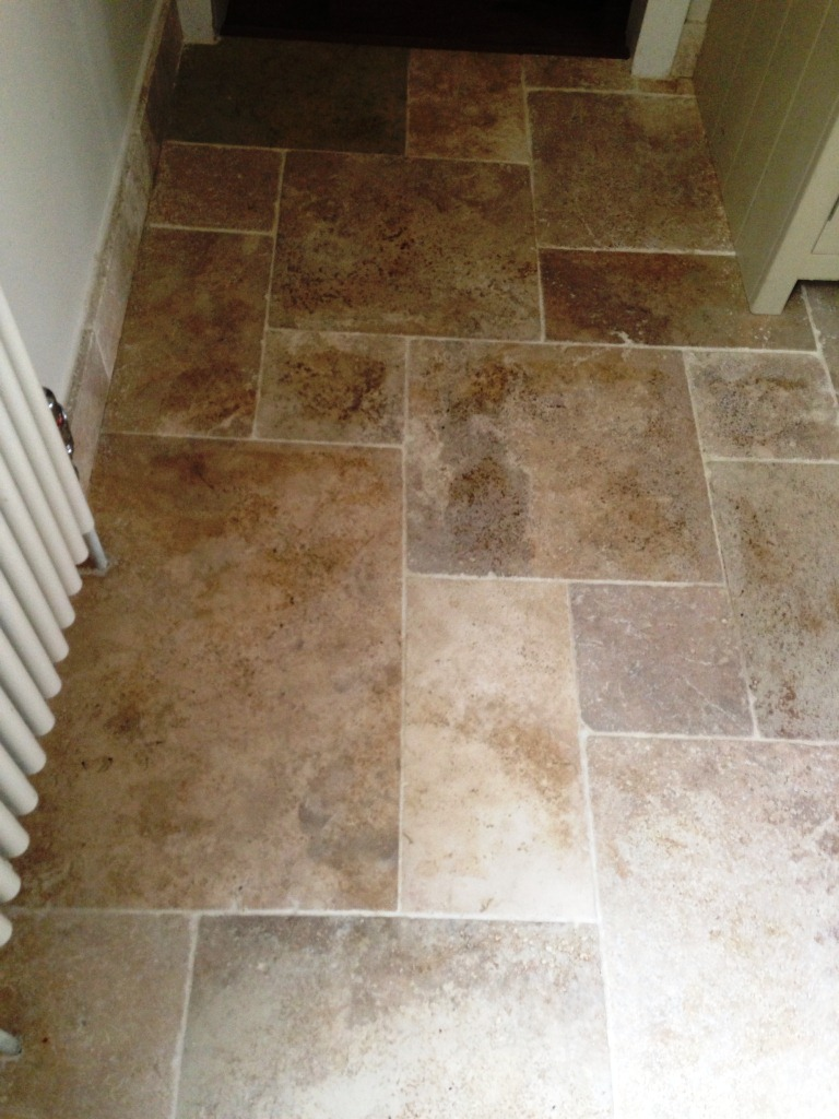 Dirty Travertine Cleaned not Sealed