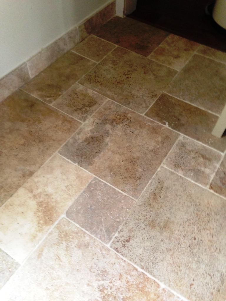 kitchen travertine tiled floor cleaning in mortlake | east surrey