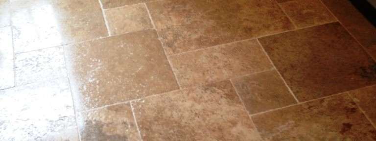 Kitchen Travertine Tiled floor cleaning in Mortlake
