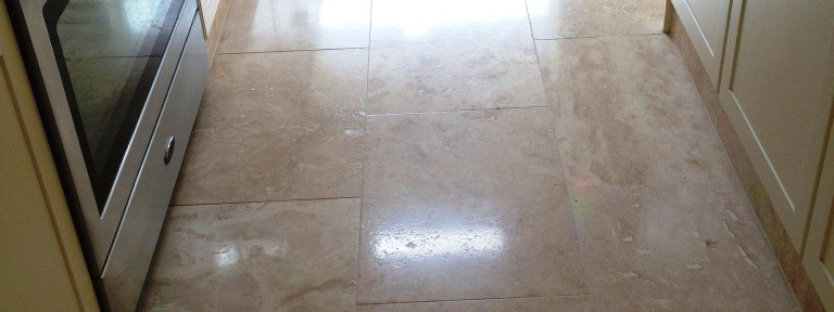 Travertine Tiled Kitchen floor in Mitcham