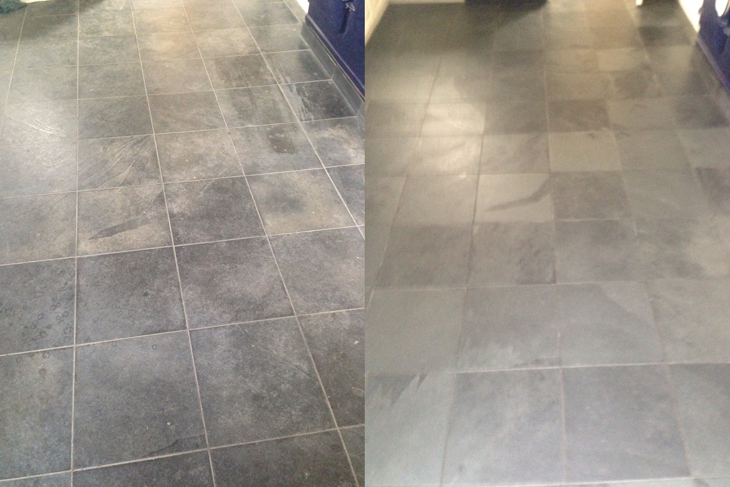 Balham Slate Floor Before and After-
