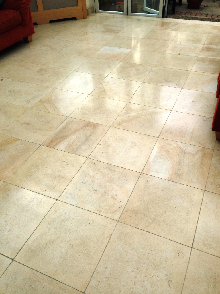 Tiled floor east surrey tile doctor limestone tiled floor after dailygadgetfo Image collections