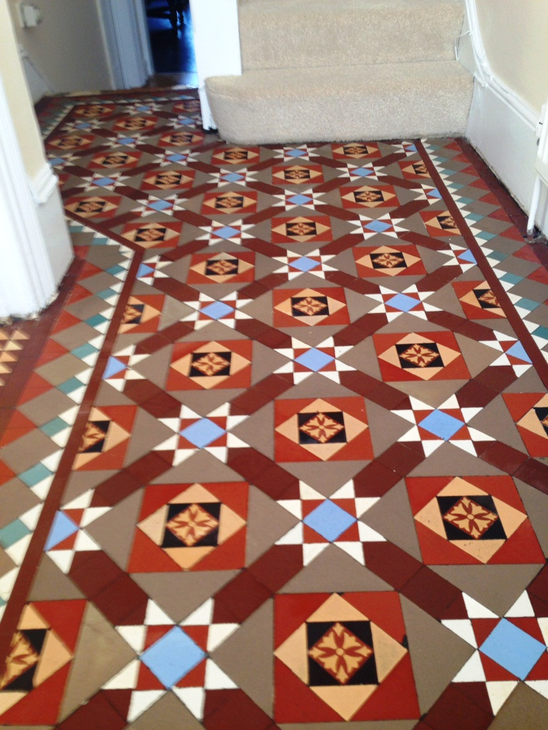 Hallway east surrey tile doctor victorian tiled floor balham after cleaning doublecrazyfo Gallery