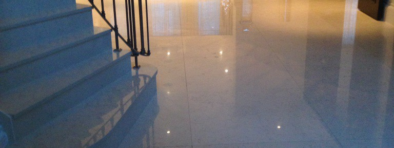 300m2 Marble Tiled Floor Cleaned and Polished in Oxshott