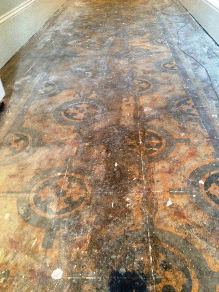 Old Encaustic Floor Fulham Before Cleaning 1