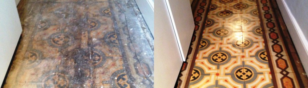 Old Encaustic Tiled Floor Restored in Fulham