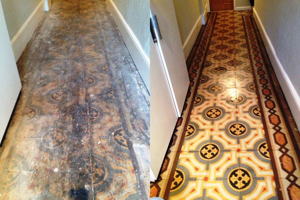 Old Encaustic Floor Fulham Before and after Restoration 5