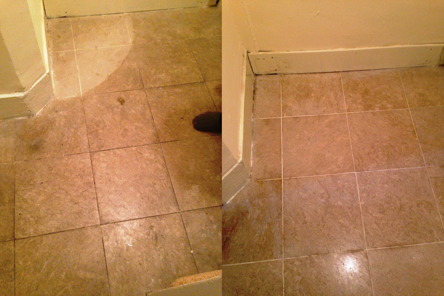 Limestone Tiled Floor Kensington Before and After Cleaning
