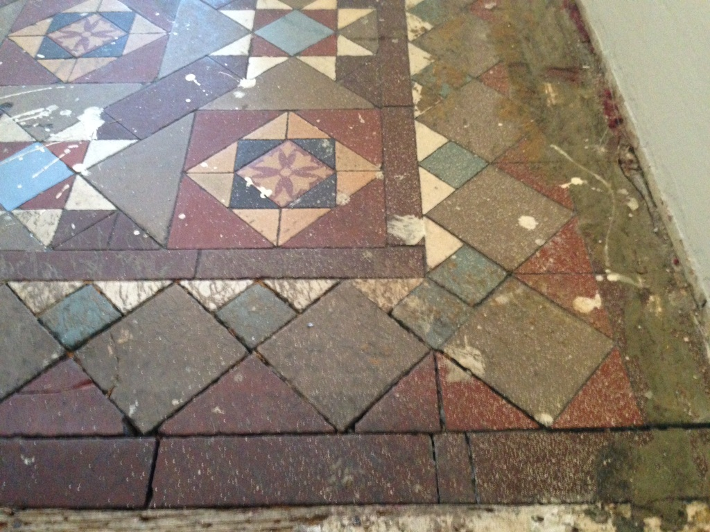 Floor restoration east surrey tile doctor victorian tiled floor balham before cleaning doublecrazyfo Gallery