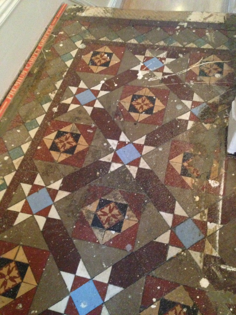 Victorian Tiled Floor Balham Before Cleaning