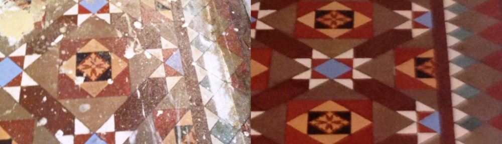 Restoring a Victorian Tiled floor hidden under Carpet in Balham