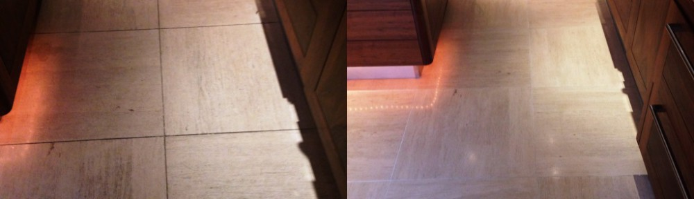 Limestone Kitchen and Hallway floor Cleaned and Sealed in Westminster