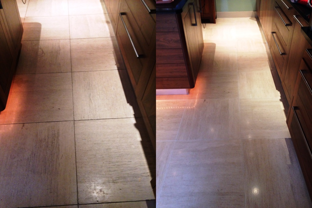 Limestone tiled floor Westminster Before and After