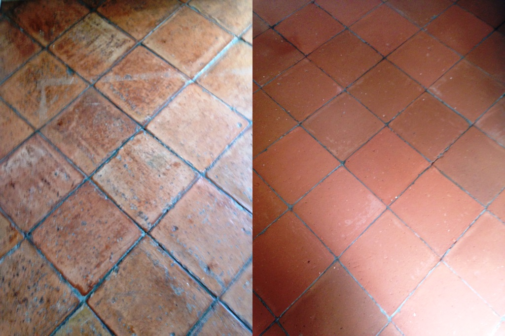 Terracotta Tiles Before and After Cleaning in Battersea