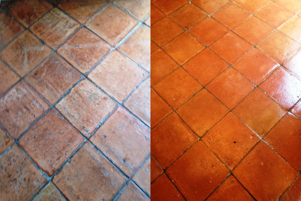 Terracotta Tiles Before and After Sealing in Battersea