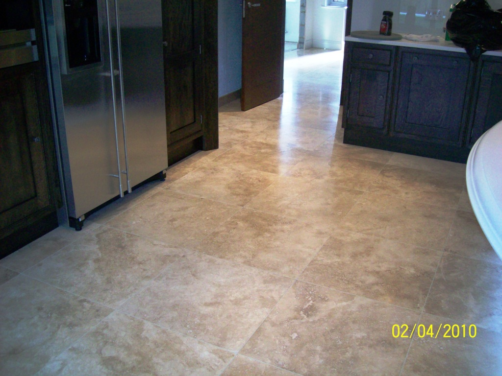 Travertine Tiled Kitchen Floor Cleaning And Sealing