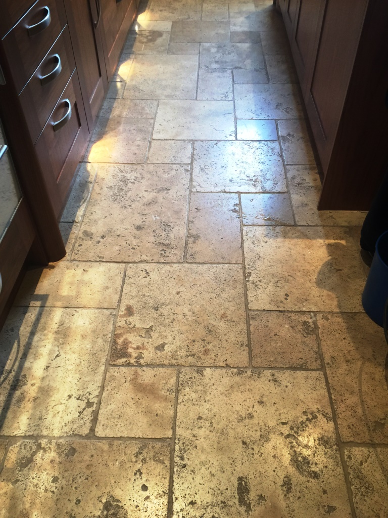 Deep cleaning sealing and polishing large travertine floor honed travertine kensington before cleaning dailygadgetfo Gallery