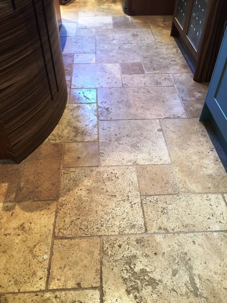 Honed Travertine Kensington Before Cleaning