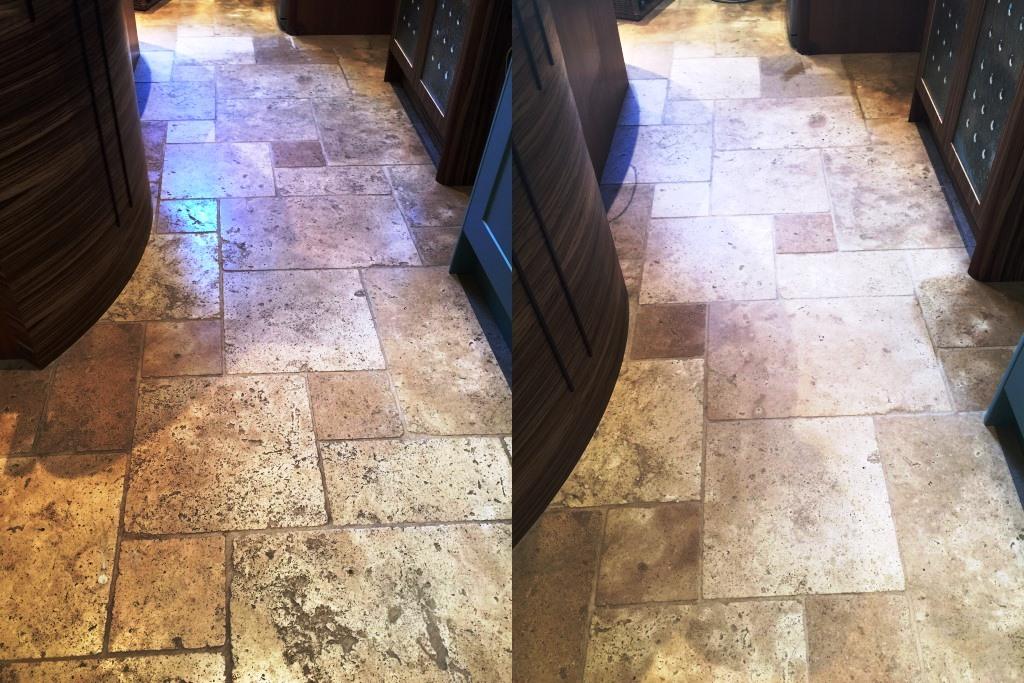 Deep Cleaning Sealing And Polishing Large Travertine Floor Stone