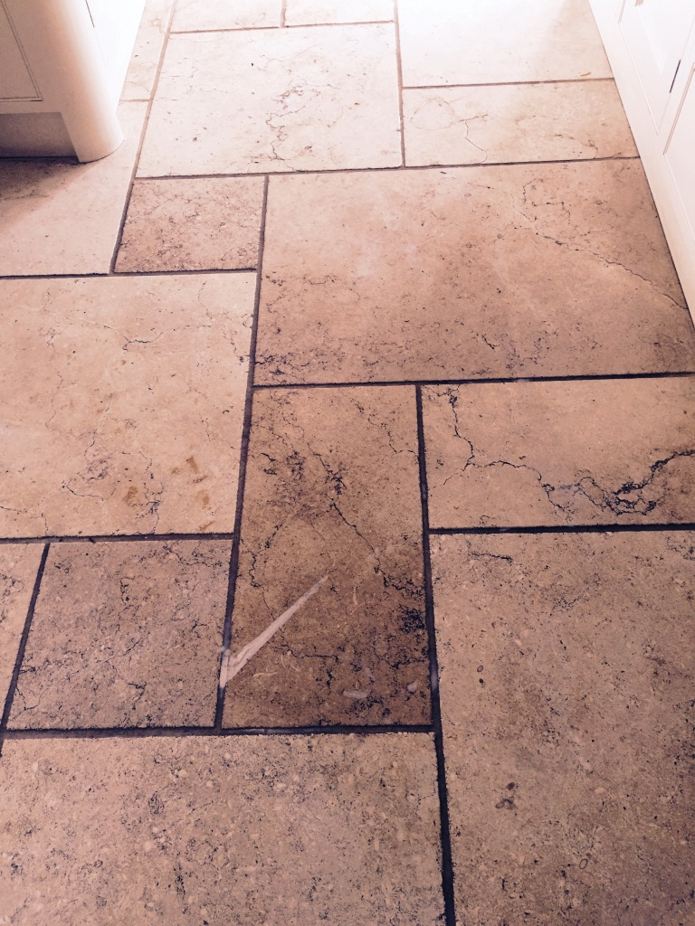Polished Limestone Before Cleaning in Leatherhead