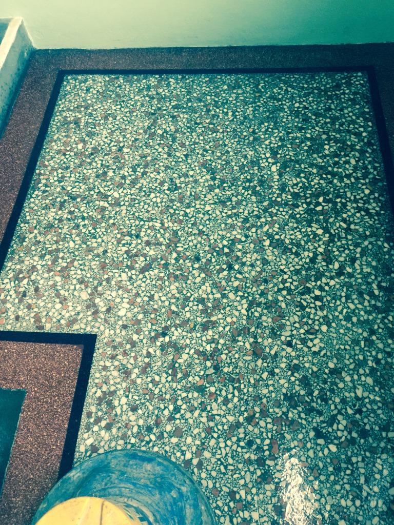 Clean terrazzo tile floors
